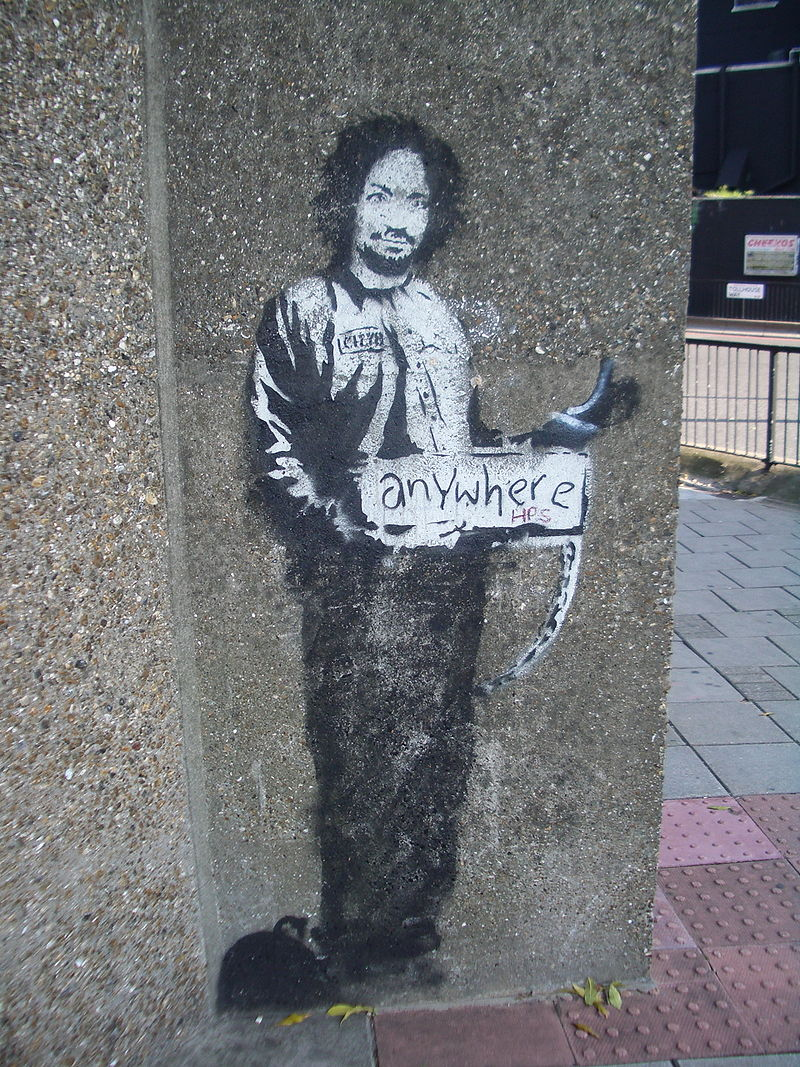 Banksy Hitchiker to Anywhere