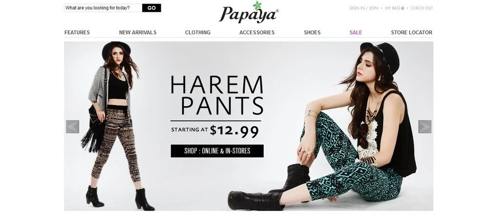 Papaya offers juniors a reasonable and fashionable boutique to shop from