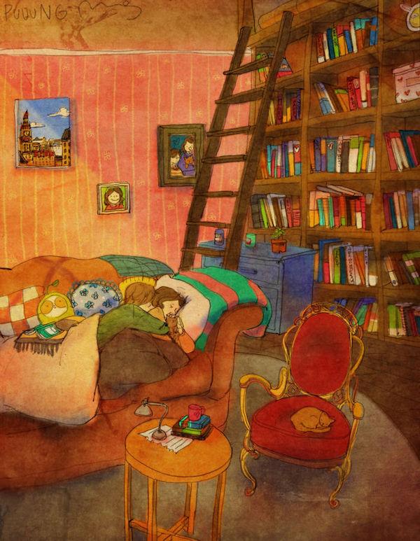 Love is falling asleep on the sofa