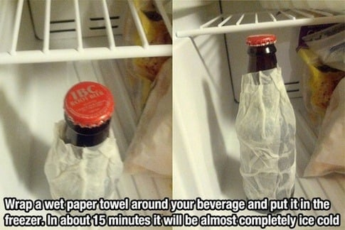 wrap a wet paper towel around your beverage
