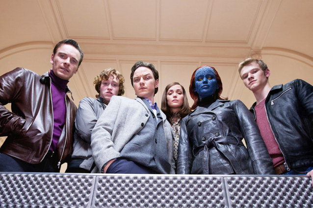 X-MEN: FIRST CLASS, from left: Michael Fassbender, Caleb Landry Jones, James McAvoy, Rose Byrne, Jennifer Lawrence, Lucas Till, 2011, ph: Murray Close/TM and Copyright ?20th Century Fox Film Corp. All rights reserved./courtesy Everett Collection