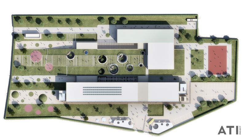Scuola elementare via Brocchi, Milano - vista dall'alto, planivolumetrico © ATIproject
