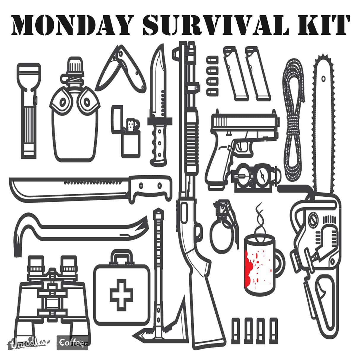 Score Monday Survival Kit by Giuliet Littlejohns on Threadless