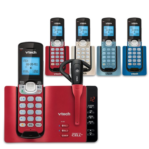 5 Handset Connect to Cell™ Phone System with Cordless