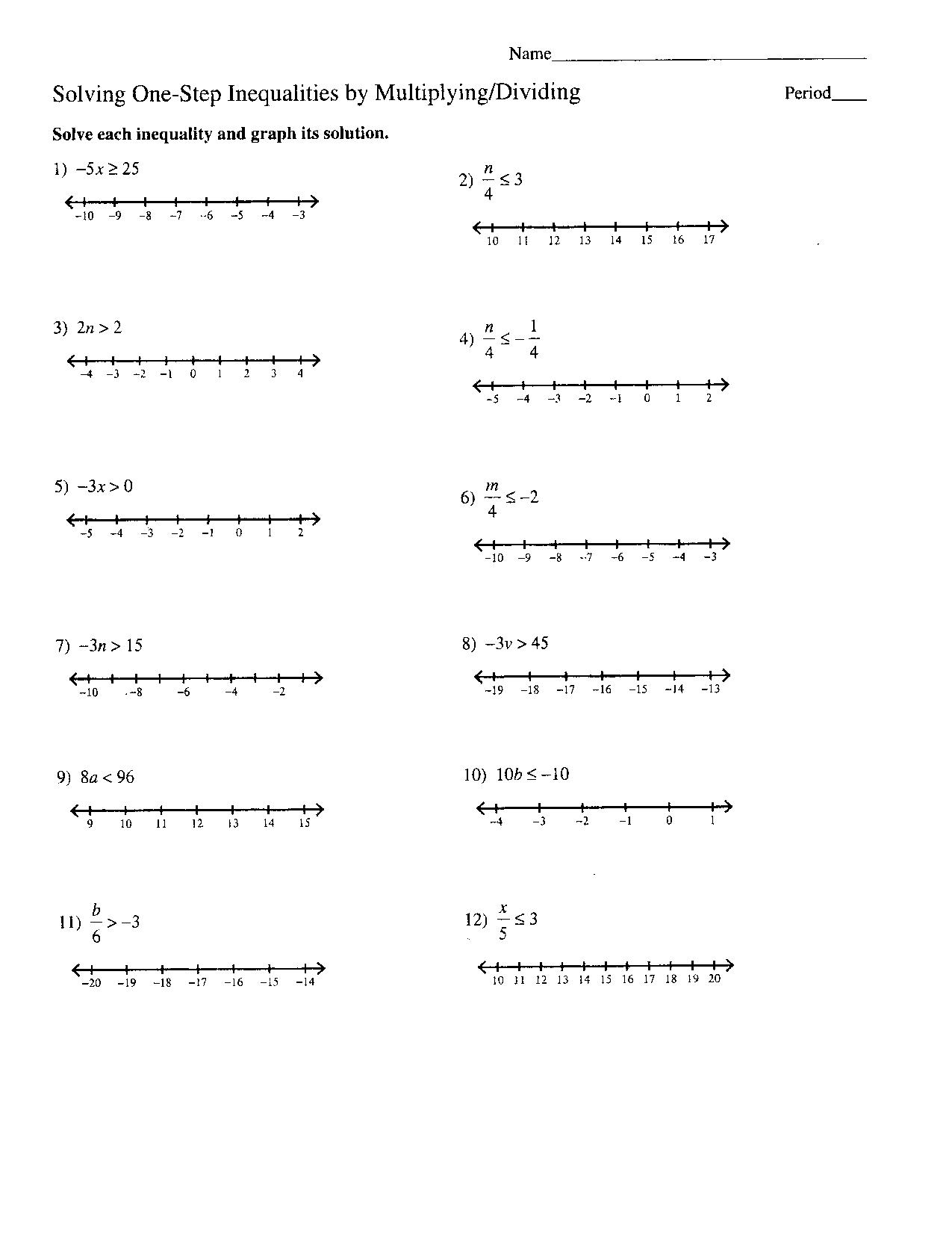 Inequalities Worksheet Algebra 1 Review