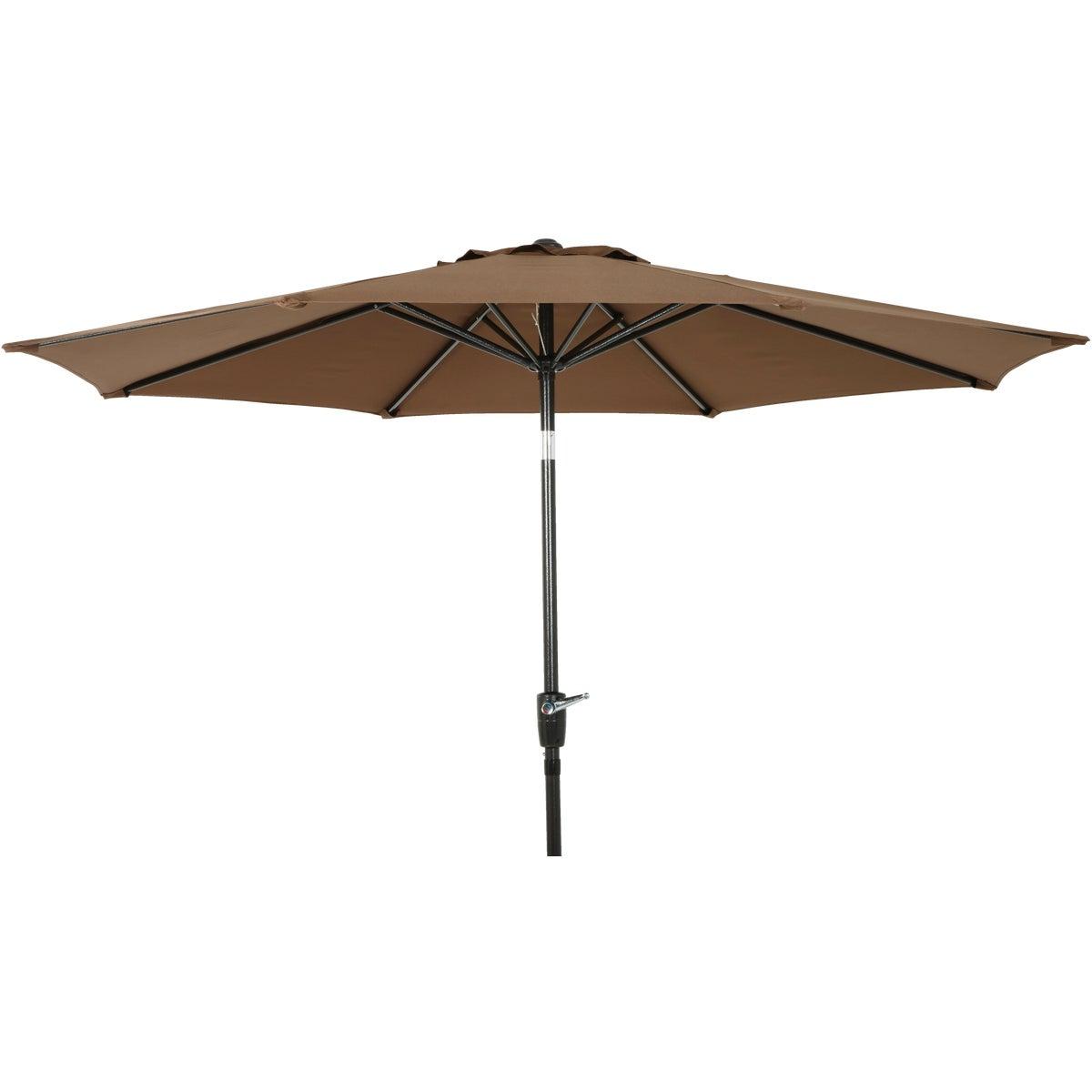 https www doitbest com shop outdoor living patio furniture patio umbrellas and bases patio umbrella outdoor expressions 9 ft aluminum tiltcrank brown patio umbrella sku 821891