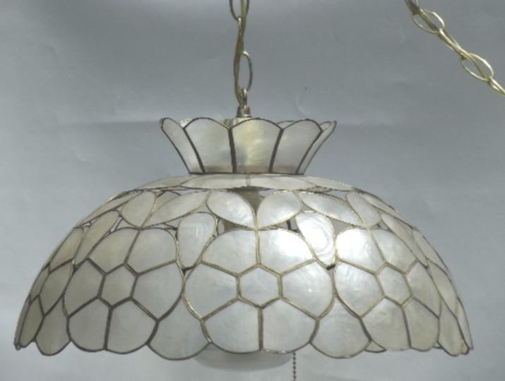 retro 1960 s swag capiz shell hanging lamps