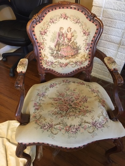 rope bottom chair jazzy power accessories fort worth star telegram classifieds stuff antique jacobean beautiful needlepoint 60 it s in great shape for age but needs new burlap support on the should be an easy fix