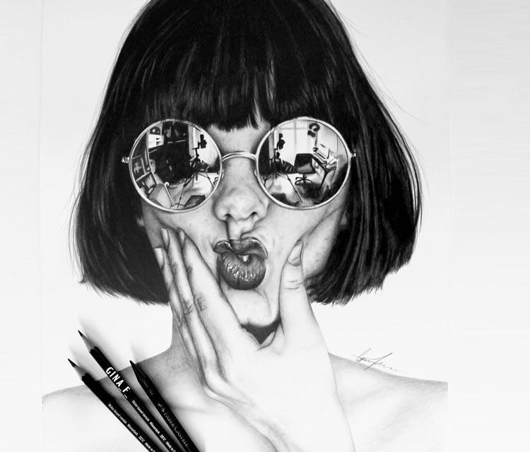girl portrait pencil drawing