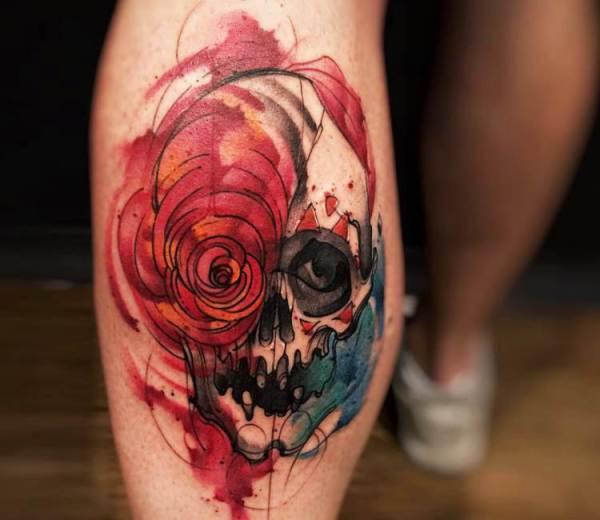 watercolor skull tattoo felipe