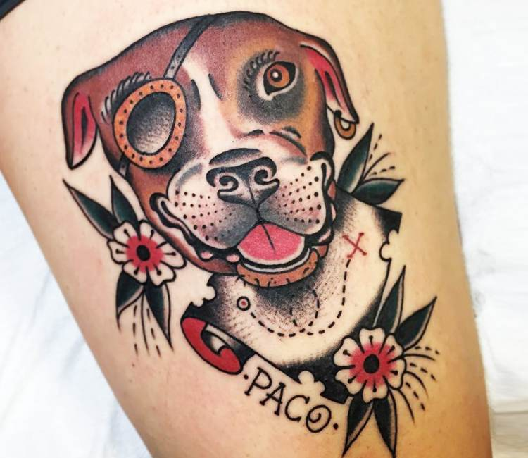 Pitbull Tattoo New School