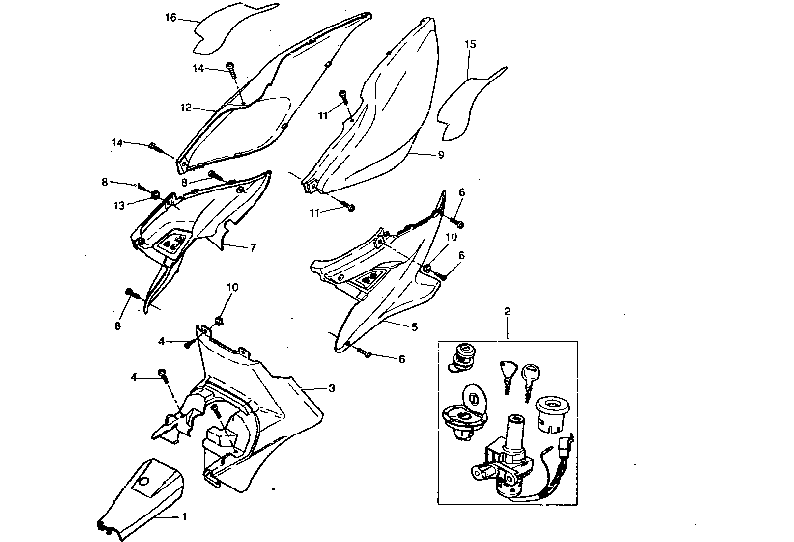 Ersatzteile Yamaha Aerox 50 R Seitenverkleidung