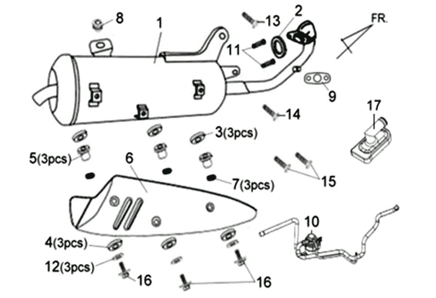 Uitlaat Sym Fiddle II 25km/h 4T (New Engine) E3 2012 (BNL