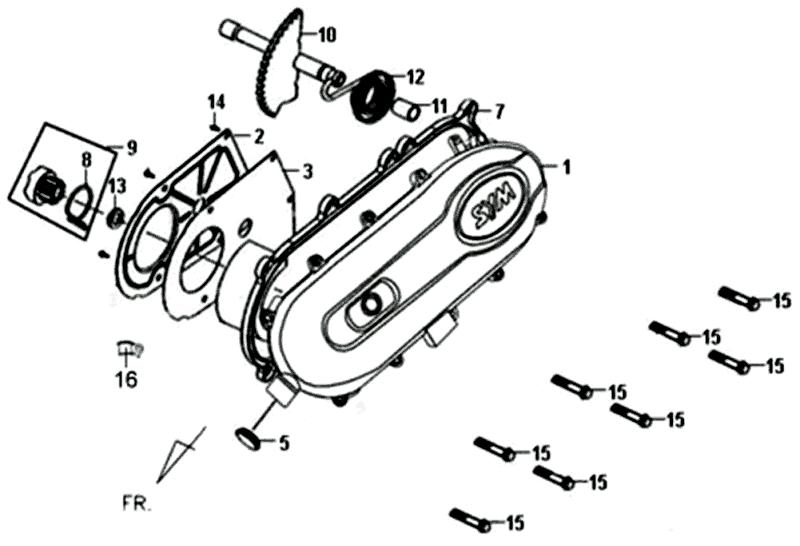 Variatordeksel Sym Fiddle II 50 4T (New Engine) E3 2013