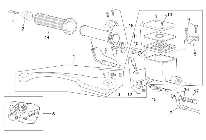 Cilindro del freno principale anteriore Aprilia Leonardo