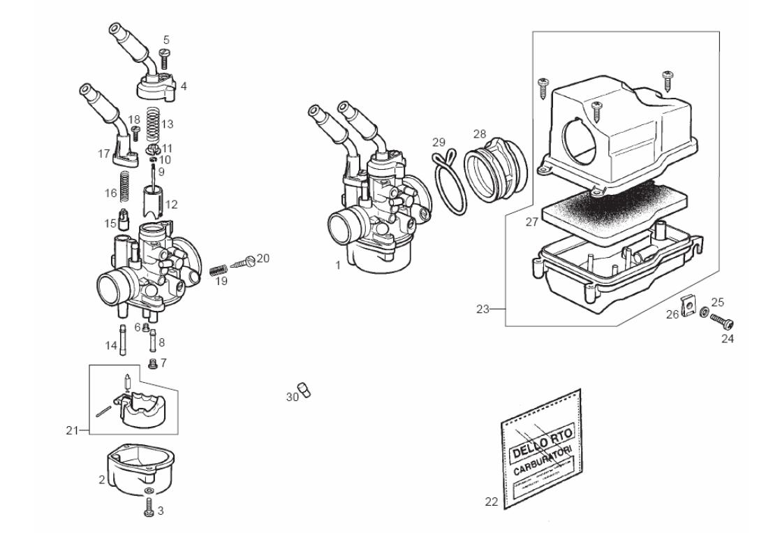 Carburador Derbi Variant 50 2T Start E2 2004 (EMEA