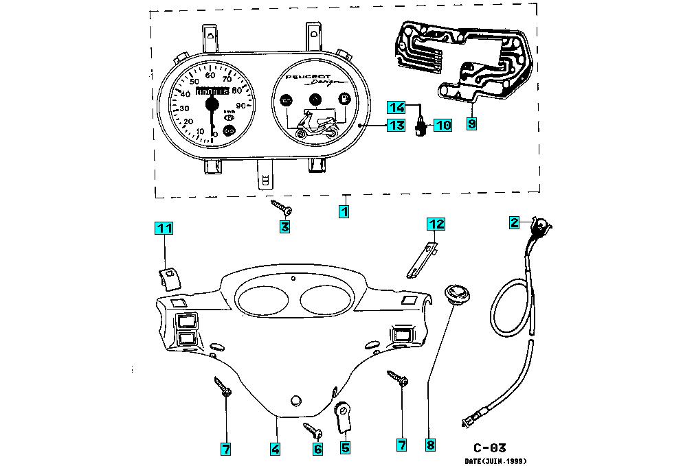 Onderdelen Peugeot Zenith M 50 2T BN 1997 Speedometer