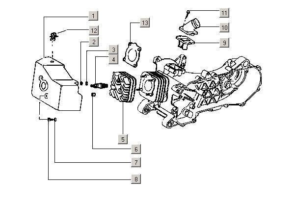 Onderdelen Vespa ET2 50 2T E1 1997-2004 (EMEA) Cilinderkop