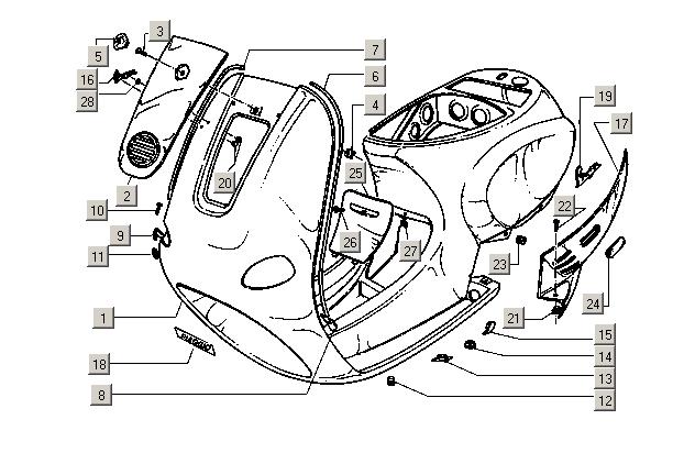 Ersatzteile Vespa ET2 50 2T E1 1997-2004 (EMEA) Chasis