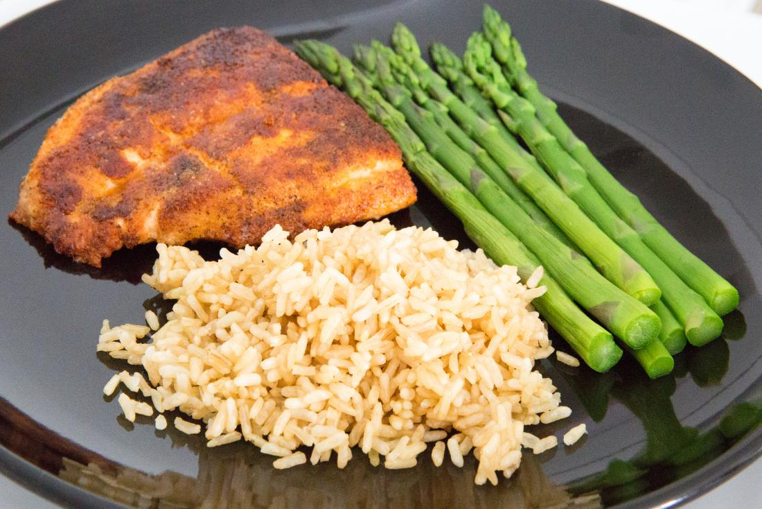 salmon, asparagus and brown rice