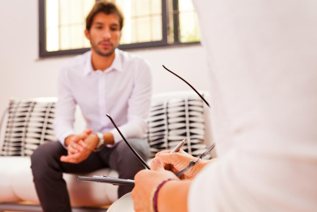 man talking to psychiatrist