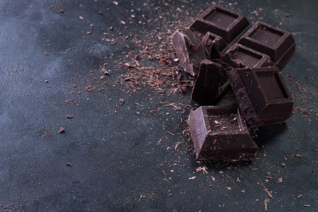 Dark chocolate pieces on surface.