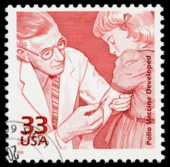 Jonas Salk, pioneer of the polio vaccine, on the 1999 U.S. commemorative stamp.