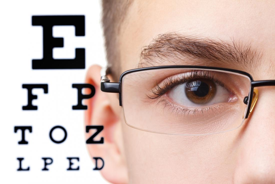 Boy with glasses eye test