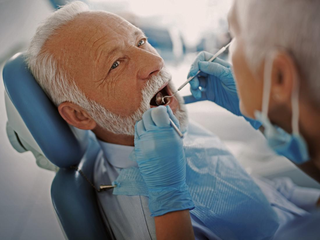 a dentist checking for mouth cancer in a man's mouth.