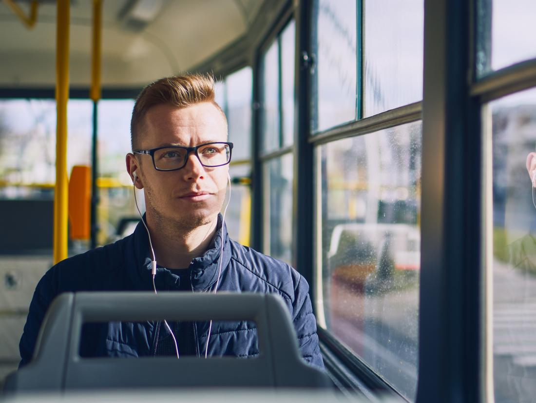 a man sat on the bus thinking about testicular cancer