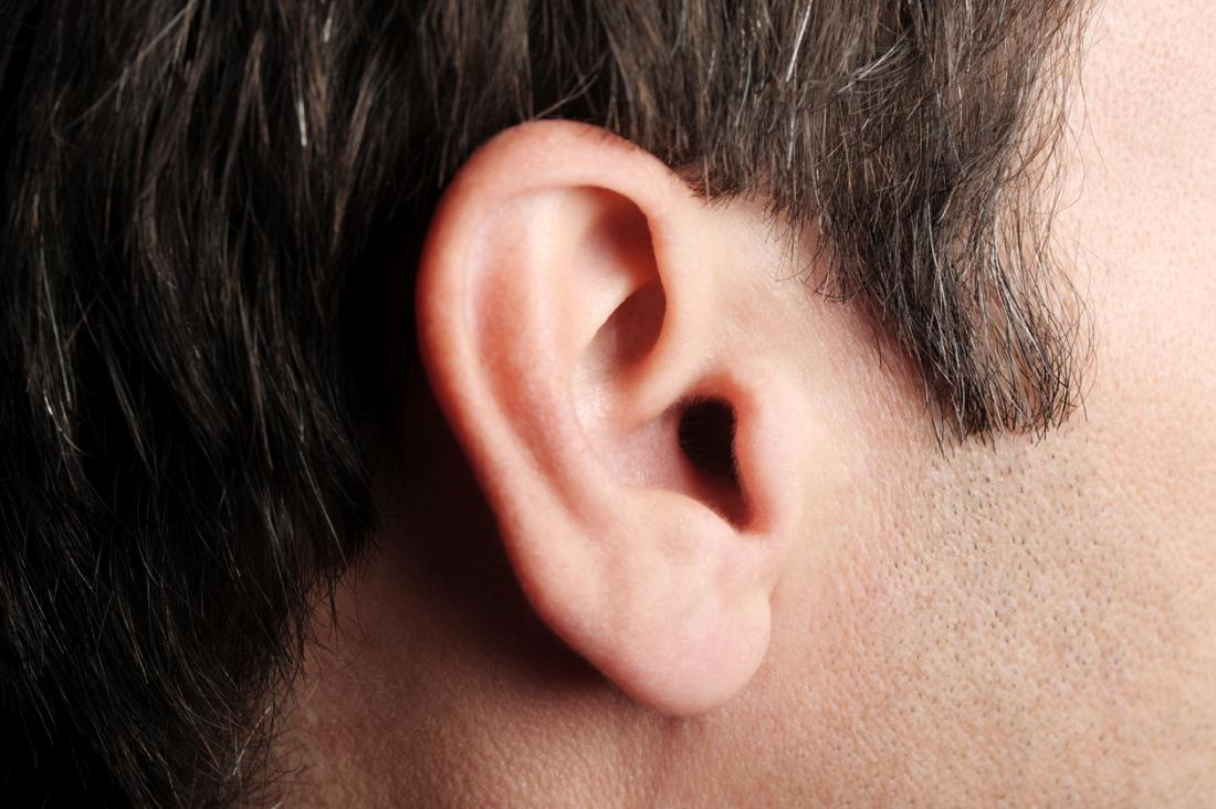 close up of a mans ear