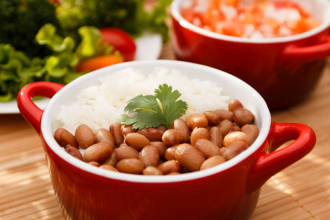 Rice and beans together provide protein.