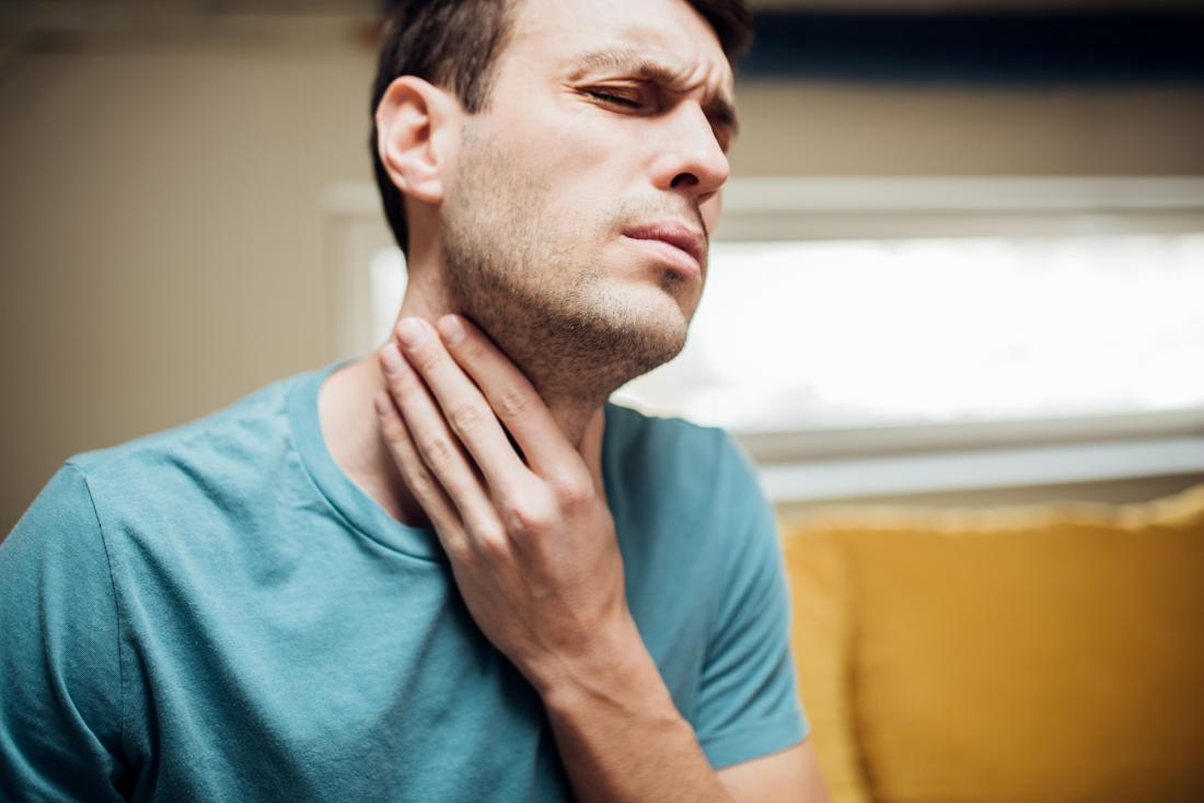 a man with a sore throat because of esophageal achalasia
