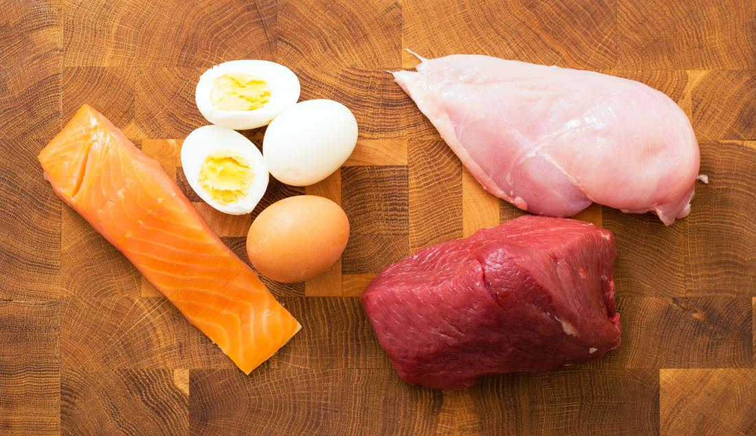 Salmon, eggs, chicken, and venison.