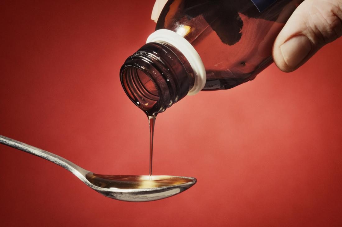 man pouring cough medicine onto a spoon