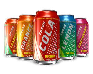 Cans of soda drink