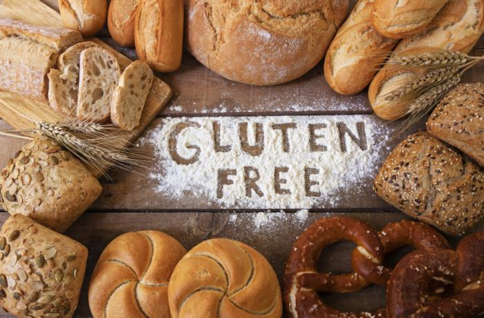 [Gluten free sign among bread]