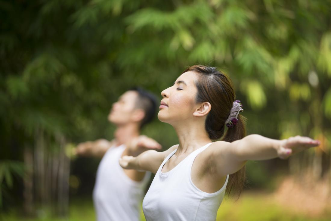 peaceful lady does tai chi