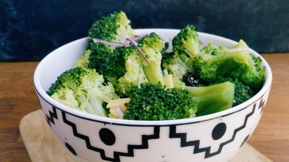 a bowl with broccoli in it