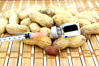 Peanuts with a syringe