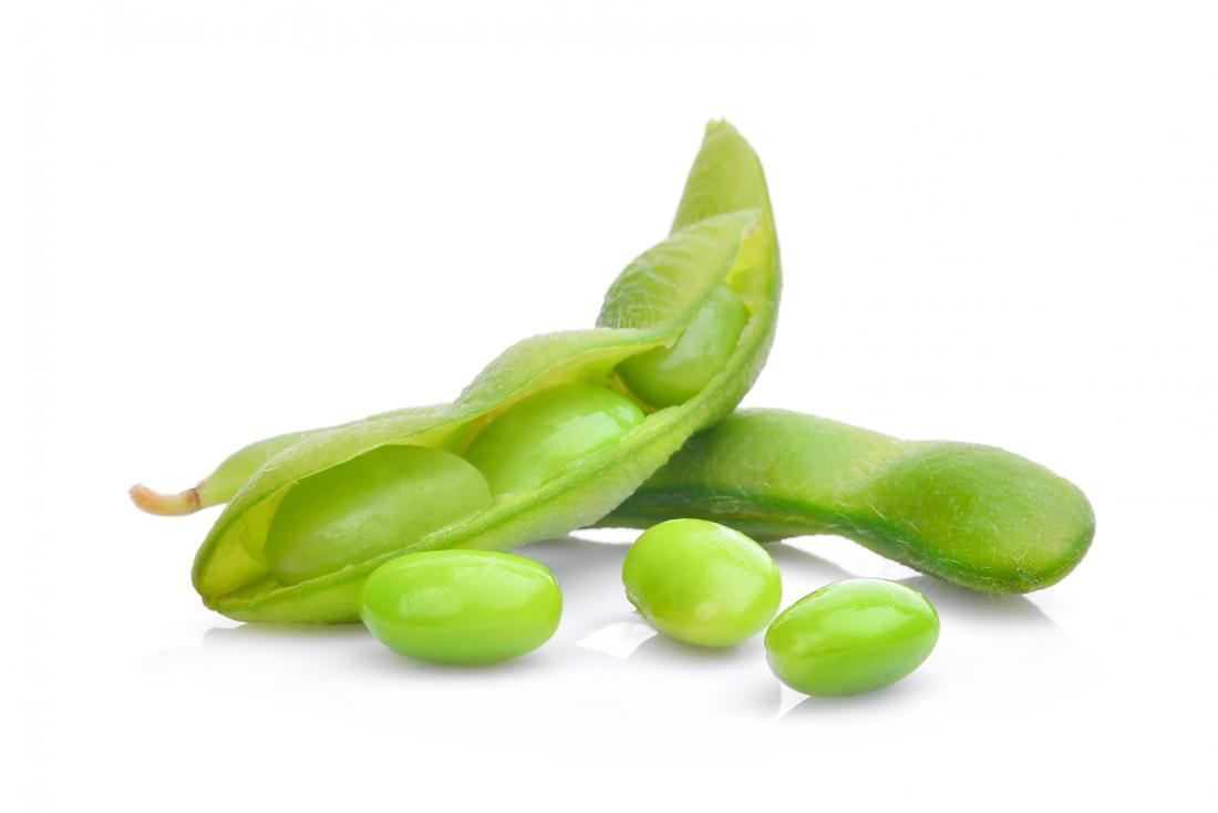 Edamame beans and pods.