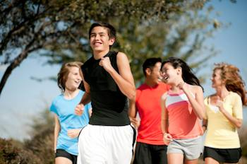 Teen athletes jogging