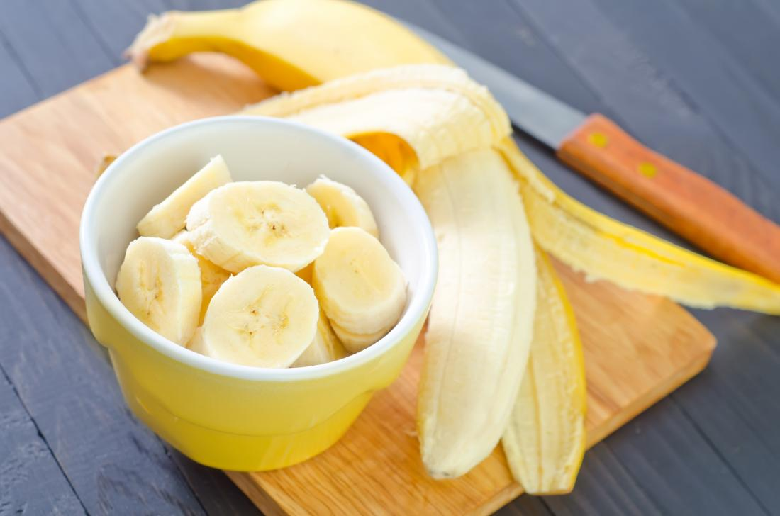 Bananas chopped up in a bowl