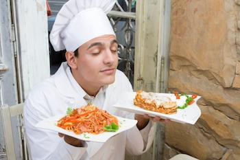 chef smelling food