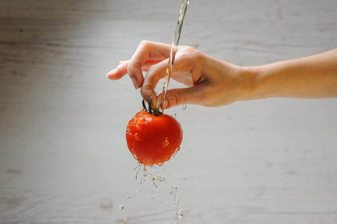 Wash tomatoes before eating.
