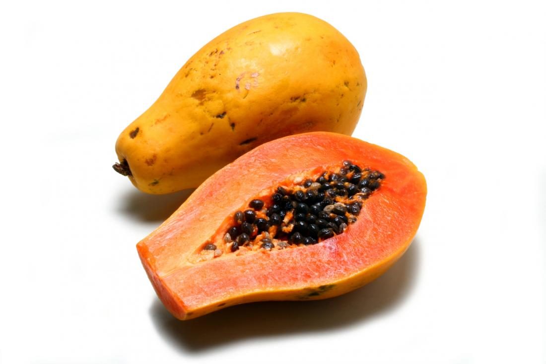 a papaya cut in half