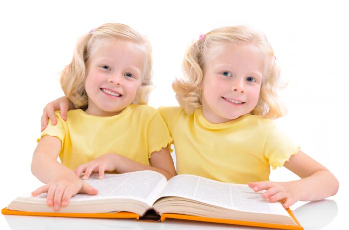 twin girls reading a book