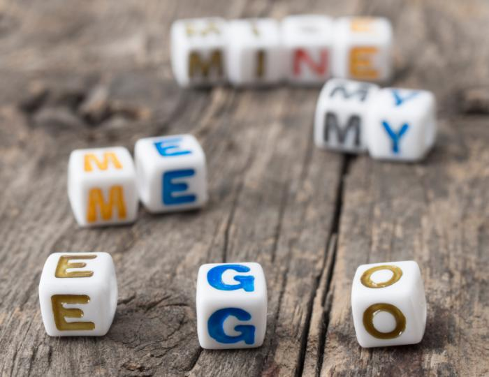 blocks spelling out the word ego