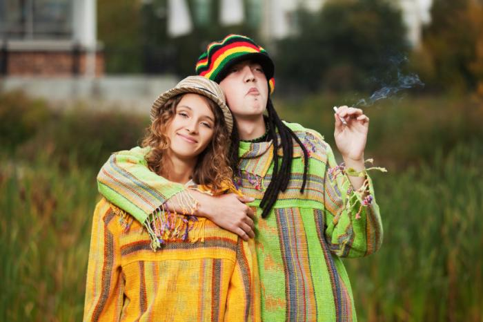 Happy hippie couple