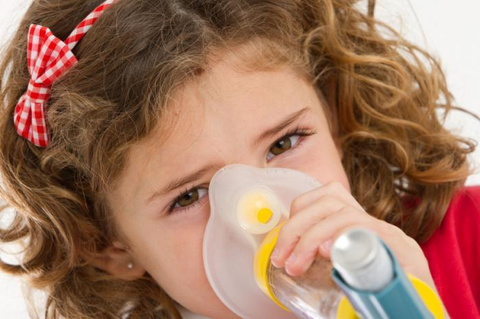 child using inhaler with face mask